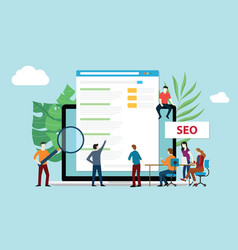 seo search engine optimization with office team vector image