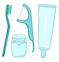 set cartoon tooth brushing items vector image