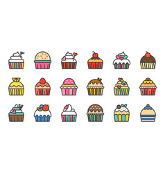 Set of cute fancy cup cake filled outline icon vector
