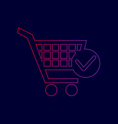 shopping cart with check mark sign line vector image