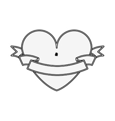 Silhouette heart shape with label vector