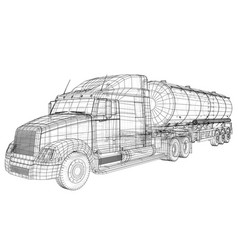 Sketch of a truck with a tank created vector