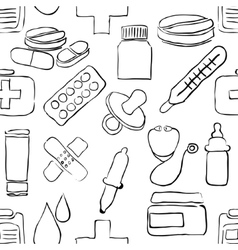 sketch pharmacy seamless pattern vector image vector image