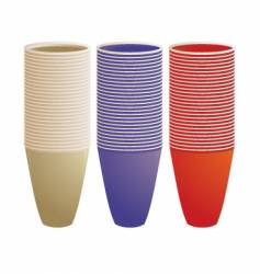 Stacked plastic cups vector