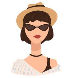 Stylish teenage girl wearing fedora hat vector