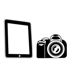 Tablet and camera black vector