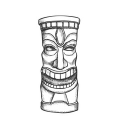 Tiki idol carved wooden laughing totem ink vector