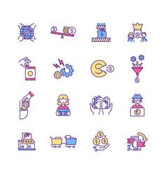Trade rgb color icons set vector