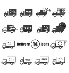 transport delivery set 14 icons in a flat style vector image