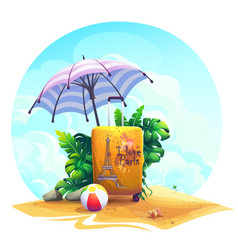 travel suitcase ball stones bush on sand vector image