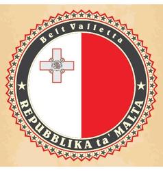Vintage label cards malta flag vector