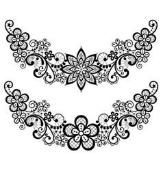 vintage lace half wreath single pattern set vector image