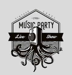 vintage music emblem octopus tentacles and sound vector image