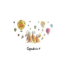 Watercolor balloons in cappadocia vector