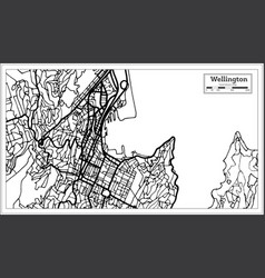 Wellington new zealand city map in black and vector