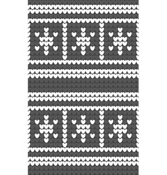 White snowflakes gray background knitted pattern vector