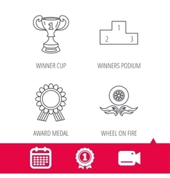 Winner cup podium and award medal icons vector