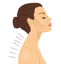 woman getting an acupuncture treatment vector image