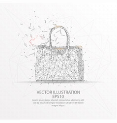 womens handbag low poly wire frame on white vector image