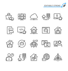 work from home line icons editable stroke vector image