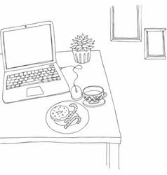 Working space outlined black and white vector