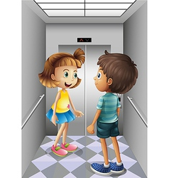 A girl and a boy talking inside the elevator vector image