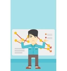 Businessman with decreasing chart vector