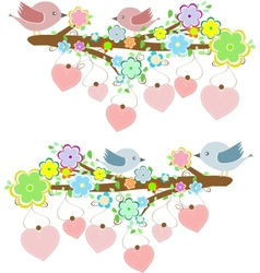 Cards with couples of birds sitting on branches vector image vector image