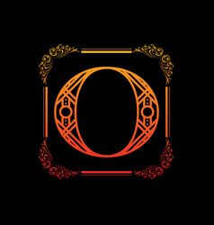 letter o with ornament vector image vector image