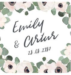 wedding invitation floral invite card watercolor vector image vector image