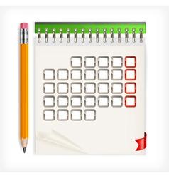 calendar open pencils vector image vector image