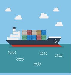 cargo shipping with containers vector image vector image