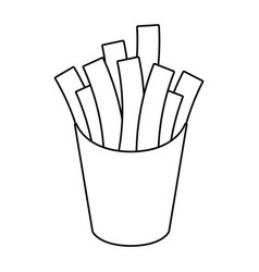 french fries fast food thin line vector image
