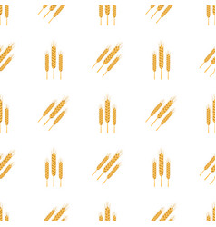 golden bread spikes from field seamless patern vector image