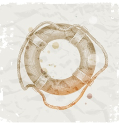 Hand drawn lifebuoy on grunge paper background vector image vector image