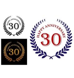 Happy 30th anniversary emblem vector image vector image