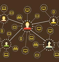Modern web social media network scheme flat design vector