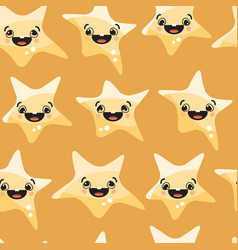 stars smiley on yellow background seamless vector image vector image