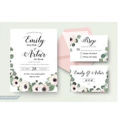 wedding invitation floral invite rsvp thank you vector image