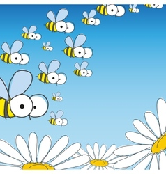 Bee And Daisy Spring Background vector image