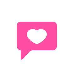 bubble chat favorite heart like icon vector image