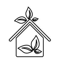 figure sticker eco houese with leaves icon vector image