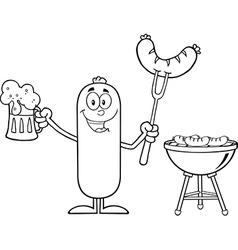 Happy Sausage Cartoon Enjoying a Barbeque vector image vector image