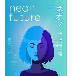 Neon futuristic poster vivid colored vector