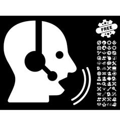 Operator Speech Icon with Tools Bonus vector image vector image