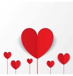Paper hearts Valentines day card Flowers concept vector image