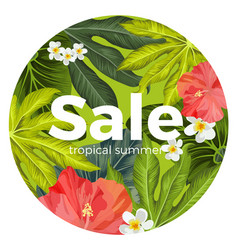 sale promotion card with tropical flowers and vector image vector image