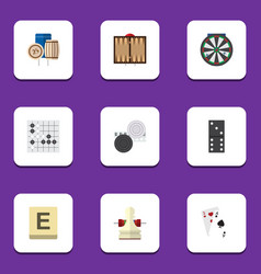 flat icon games set of mahjong arrow chequer and vector image