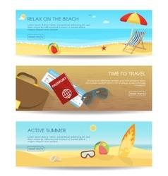 Flat Summer Banner Set vector image vector image