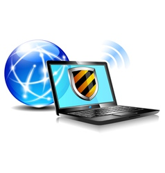 Internet Globe and Laptop protection vector image vector image